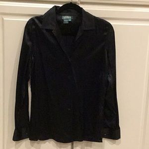 Ralph Lauren Black Silk Blouse w/ French Cuffs